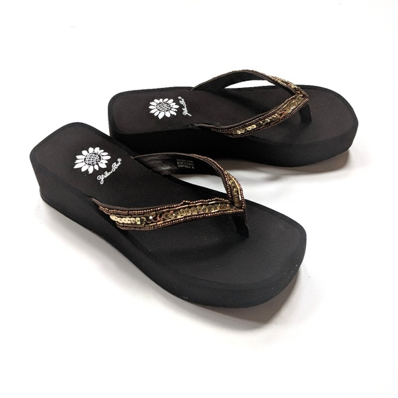 bd8a0f02ea4 Yellow Box Sequin Turntable Wedge Bronze Sandals. M 5b0a2603a825a6ef91d8bf3f